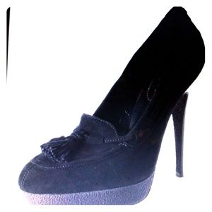 YSL YVES SAINT LAURENT  Black suede SHOES SZ 7.5 M